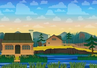 Fondo de casa sobre paisaje