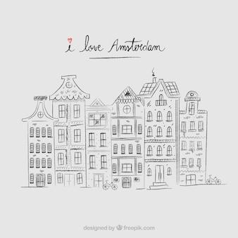 Fondo de casas de amsterdam dibujadas a mano