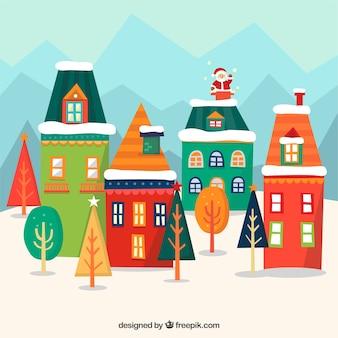 Fondo de casas geométricas de colores con santa claus