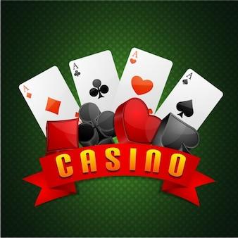 Fondo de casino verde con cartas