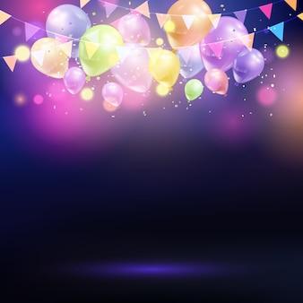 Fondo de celebración con globos y bunting