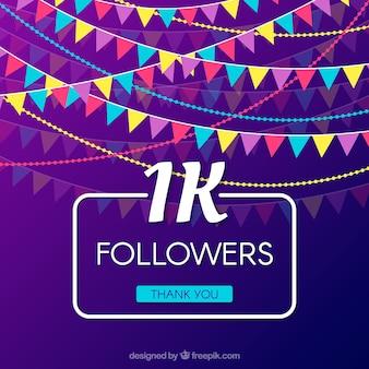 Fondo de celebración de 1k de seguidores con guirnaldas de colores
