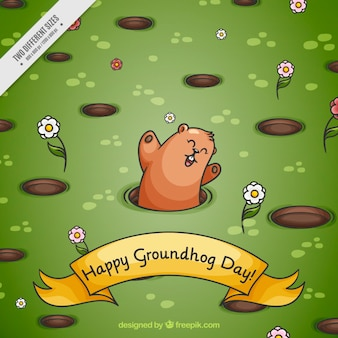 Fondo de césped con marmota feliz