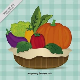 Fondo de cesta con comida saludable