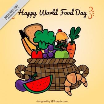 Fondo de cesta dibujada a mano con alimentos