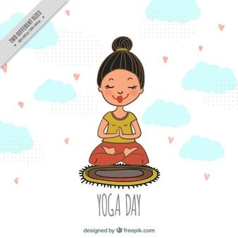 Fondo de chica pacifica haciendo yoga