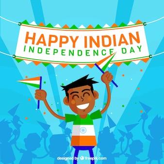 Fondo de chico celebrando el día de independencia de india