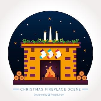 Fondo de chimenea decorada con calcetines navideños y velas
