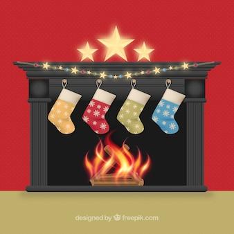 Fondo de chimenea elegante con calcetines