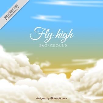 Fondo de cielo al atardecer con nubes