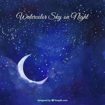 Fondo de cielo de acuarela con luna y estrellas