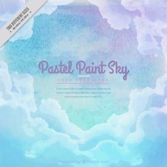 Fondo de cielo de acuarela con nubes en color pastel