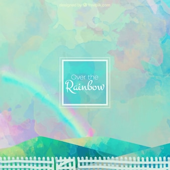 Fondo de cielo de acuarela con un arcoiris y una verja blanca