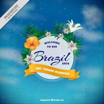 Fondo de cielo desenfocado con insignia floral de brasil