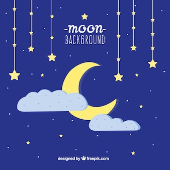Fondo de cielo nocturno de luna con estrellas y nubes