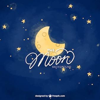 Fondo de cielo nocturno de luna y estrellas de acuarela