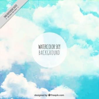 Fondo de cielo pintado a mano con nubes