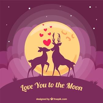 Fondo de ciervos amorosos con mensaje romántico