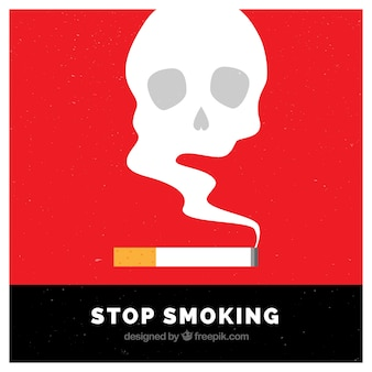 Fondo de cigarrillo con calavera de humo