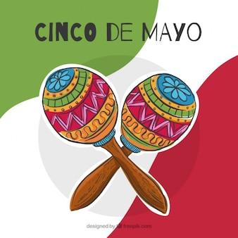 Fondo de cinco de mayo de maracas dibujadas a mano