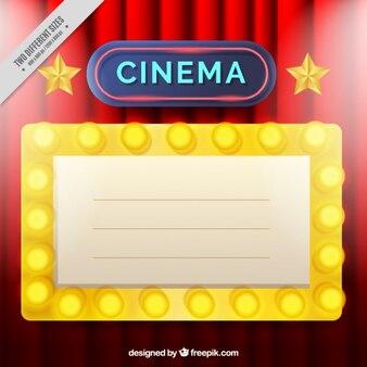 Fondo de cine con cartel luminoso