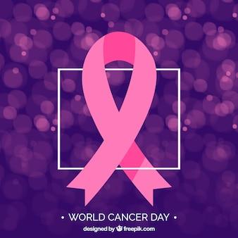 Fondo de cinta rosa con efecto bokeh para el día mundial del cáncer