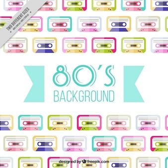 Fondo de cintas de música de colores en diseño plano