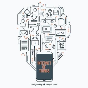 Fondo de circuito con cosas de internet