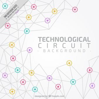 Fondo de circuito tecnológico con detalles de color