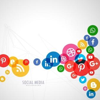 Fondo de círculos de colores con iconos de redes sociales