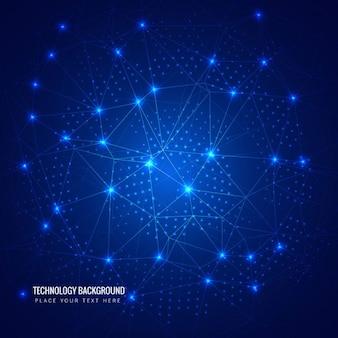 Fondo de círculos de puntos brillantes y líneas