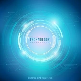 Fondo de círculos de tecnología azul