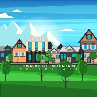 Fondo de ciudad bajo la montaña
