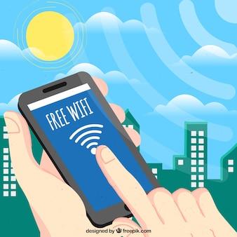 Fondo de ciudad con móvil y señal wifi