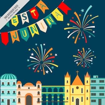 Fondo de ciudad de fiesta junina con fuegos artificiales
