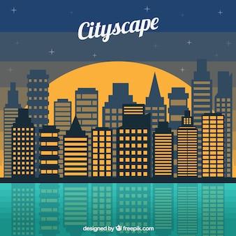 Fondo de ciudad de noche plana moderna