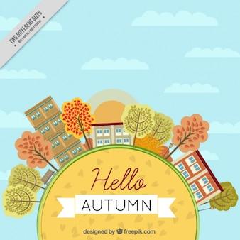 Fondo de ciudad en otoño