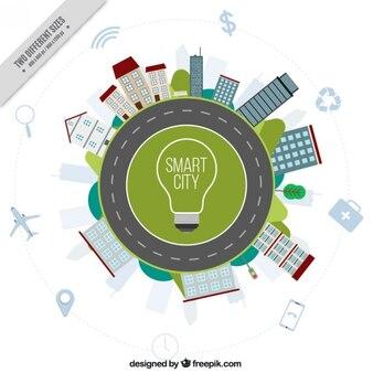 Fondo de ciudad inteligente con edificios y carretera