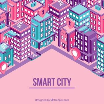 Fondo de ciudad inteligente con rascacielos en estilo isométrico