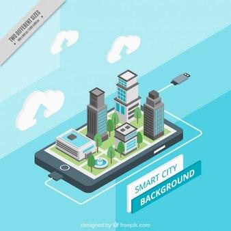 Fondo de ciudad isométrica tecnológica