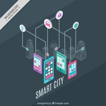 Fondo de ciudad tecnológica con iconos y dispositivos