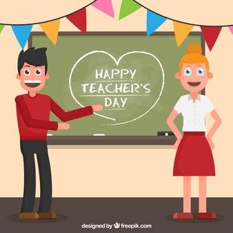 Fondo de clase con alumno y profesora