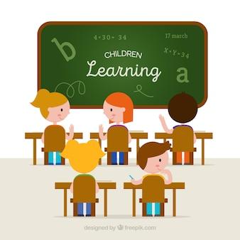 Fondo de clase con estudiantes aprendiendo