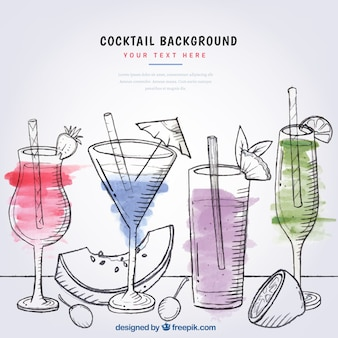Fondo de cocktails de frutas en acuarela