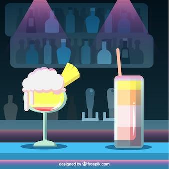 Fondo de cocktails en club nocturno