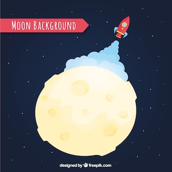 Fondo de cohete despegando en la luna