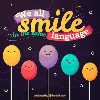 Fondo de color con personajes de globos felices