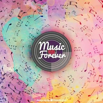 Fondo de colores de acuarela con notas musicales