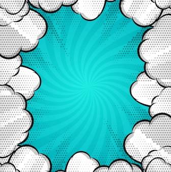 Fondo de cómic moderno con nubes