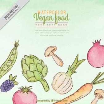 Fondo de comida saludable pintada a mano con ingredientes